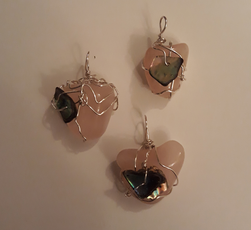 Rose Quartz with Abalone Shell